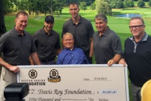 Tim Sweeney, Patrice Bergeron, Zdeno Chara, Travis Roy, Ray Bourque and Rick Middleton (L-R) are just part of the team helping the Travis Roy Foundation raise money for spinal cord research. Joe McDonald/ESPN