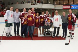 Introducing Pete Frates at the 2015 Comm. Ave. Charity Classic game.