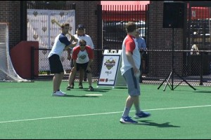 (WHDH) - Local athletes hit the field at Boston University for the fifth annual Boston Wiffle Ball Challenge to raise money for a good cause.