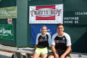 Corey and fellow Comets Express teammate Mia at the 2015 TRF WIFFLE ball tournament.